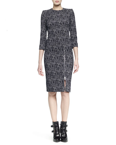 Alexander McQueen Zip-Hem Printed Sheath Dress