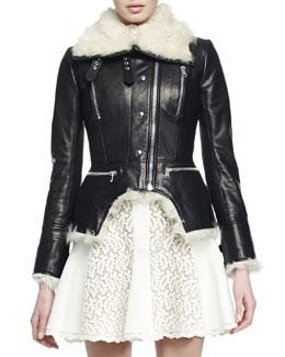Shearling Fur Cutaway Moto Jacket
