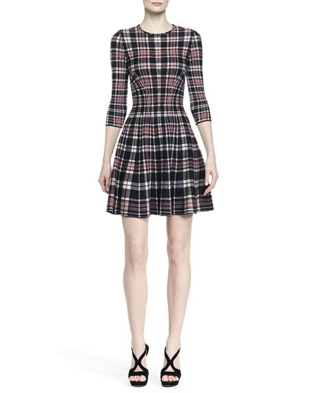 3/4 SLV PLAID DRESS