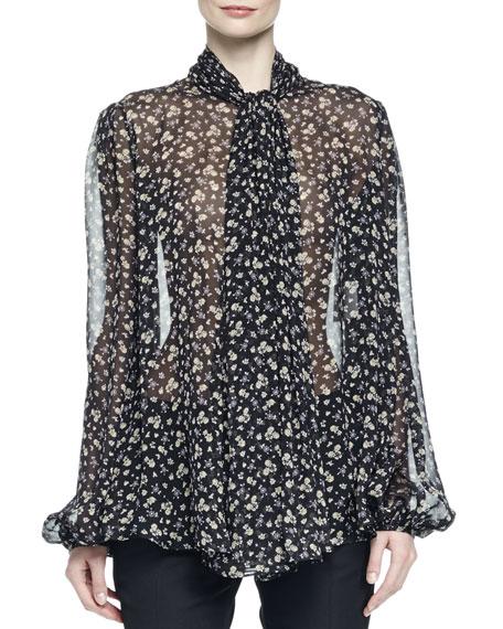 Tie-Neck Floral-Print Blouse, Black/Lilac