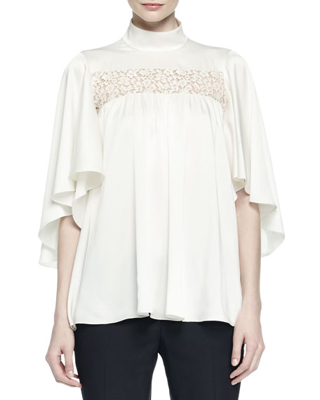 Ruffled Lace-Inset Blouse