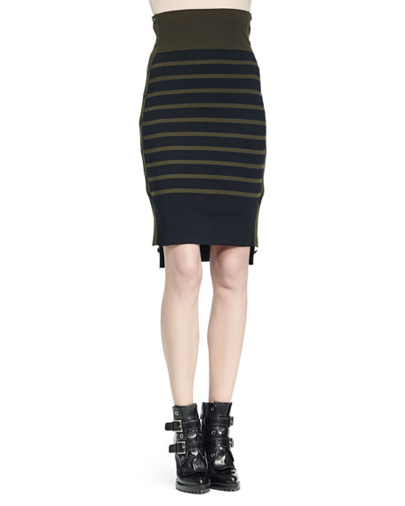 Alexander McQueen High-Waisted Striped Buttoned-Side Skirt