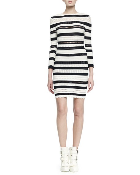 Alexander McQueen Long-Sleeve Striped Lace Bandage Dress