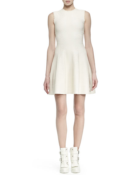 Alexander McQueen Paneled Jacquard A-line Dress
