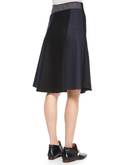 Patchwork Bias-Cut Wool Skirt