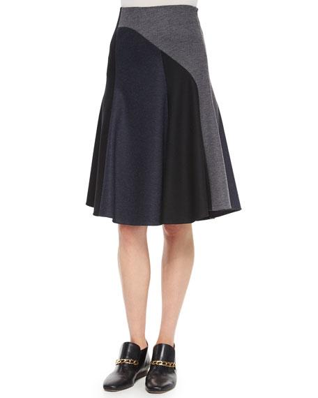 Derek Lam Patchwork Bias-Cut Wool Skirt