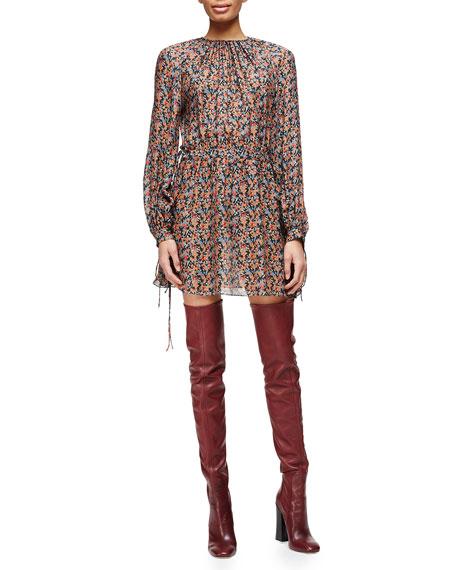 Derek Lam Pleated Floral-Print Tie-Detailed Dress