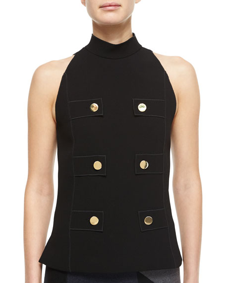 Derek Lam Mock-Neck Top with Button Detail