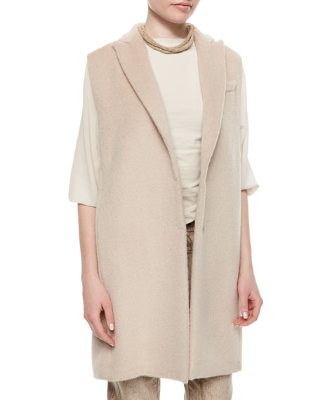 Brunello Cucinelli Alpaca Sleeveless Peaked-Lapel Jacket