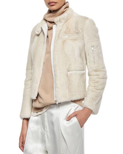 Mink Fur Bomber Jacket, Vanilla