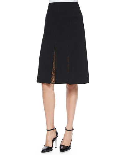 Crepe A-line Skirt W/ Lace Inset