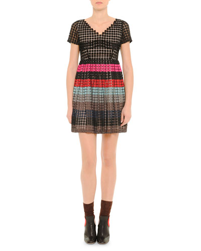 V-Neck Striped Full-Skirt Dress, Black Multi