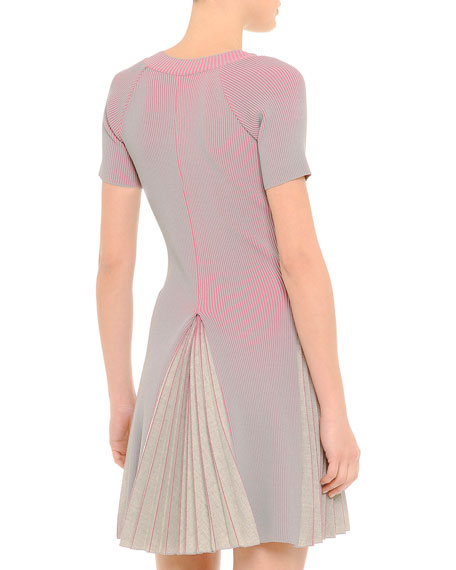 V-Neck Ribbed Pleated Dress, Pink/Gray