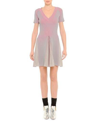 V-Neck Ribbed Pleated Dress, Pink/Gray