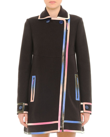 Iridescent-Leather-Trim Coat, Black