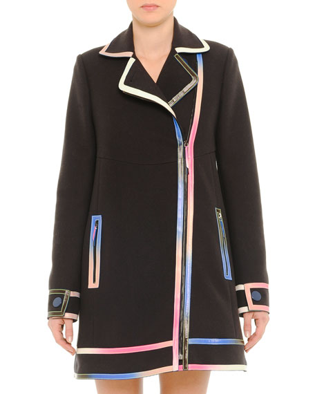 Marco De Vincenzo Iridescent-Leather-Trim Coat, Black