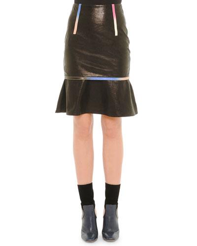 Leather Iridescent-Trim Skirt, Black