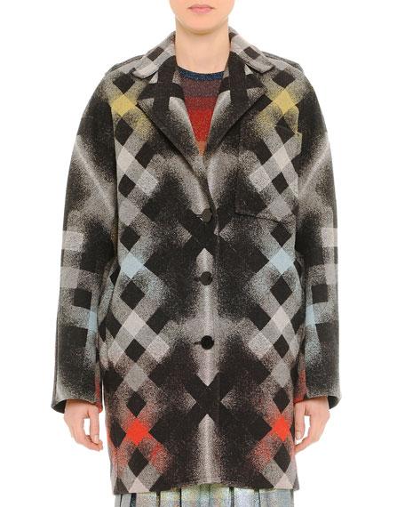 Printed Large-Check Coat