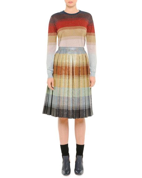 Pleated Degrade Shimmer Skirt, Beige Multi