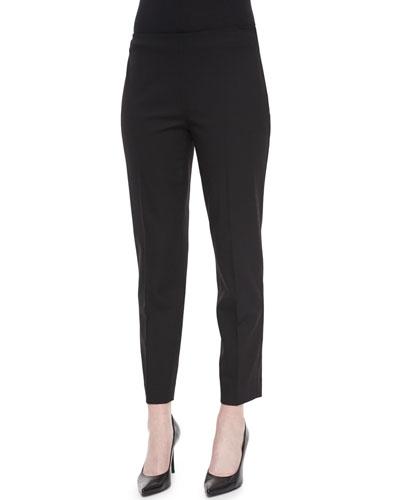 Wool Side-Zip Ankle Pants, Black