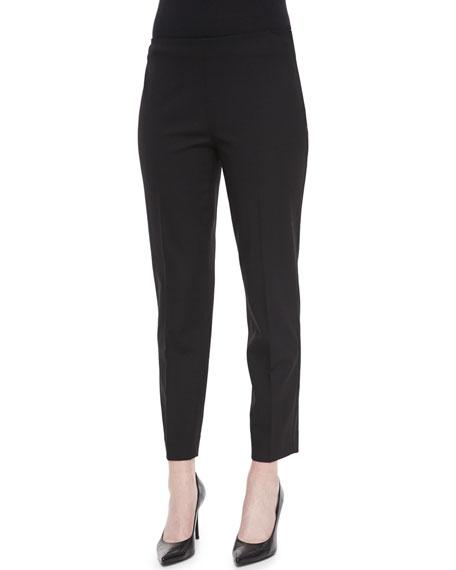 Ralph Lauren Black Label Wool Side-Zip Ankle Pants, Black