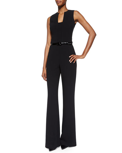 Isabella Sleeveless Self-Belt Jumpsuit