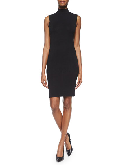 Ralph Lauren Black Label Cashmere/Silk Sleeveless Mock-Neck Dress