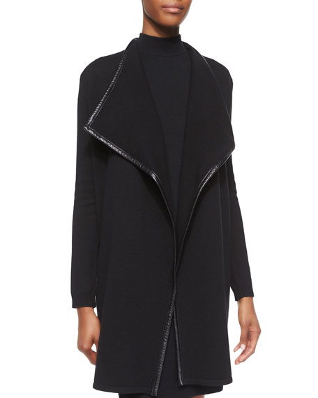 Ralph Lauren Black Label Leather-Trim Cashmere Drape-Neck