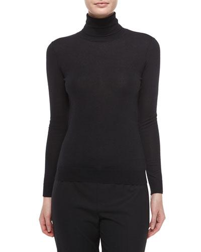 Cashmere-Silk Knit Turtleneck Top