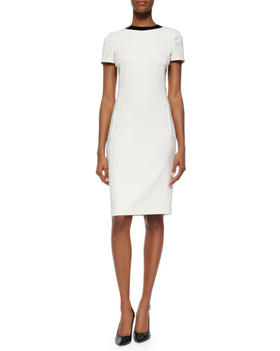 Patent-Round-Collar Ponte Dress