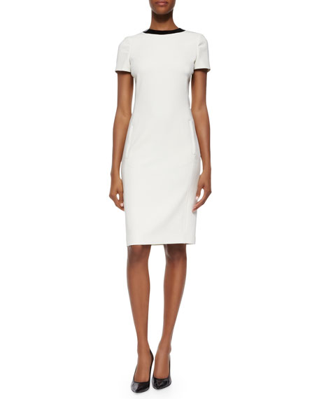 Ralph Lauren Black Label Patent-Round-Collar Ponte Dress