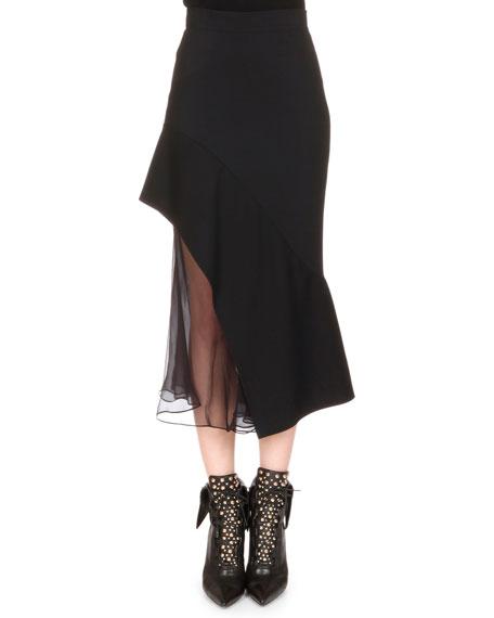 Givenchy Chiffon-Inset Asymmetric Ruffled Skirt