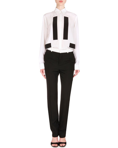 Contrast-Trimmed Skinny-Fit Trousers