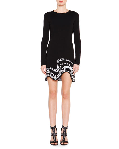 Emilio Pucci Long-Sleeve Embroidered-Trim Dress