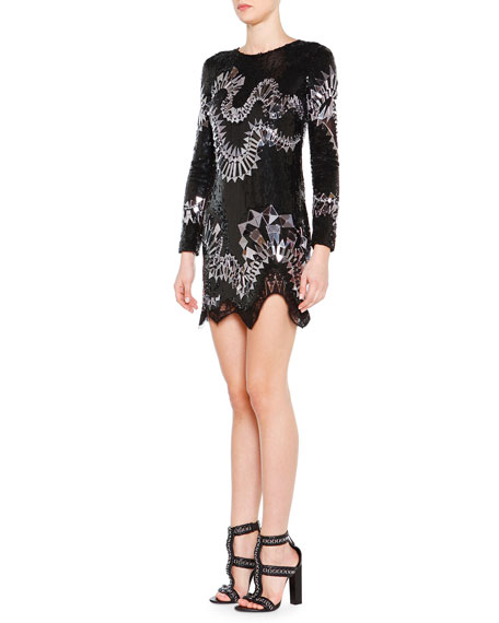Emilio Pucci Long-Sleeve Sequin-Embroidered Dress
