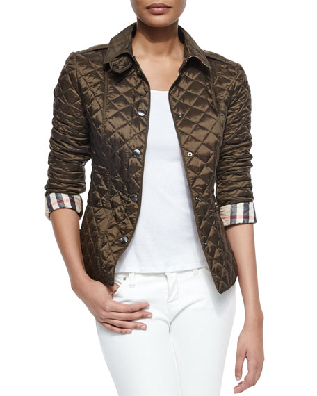 Burberry Brit Diamond Quilted Jacket, Olive : diamond quilted jacket burberry - Adamdwight.com