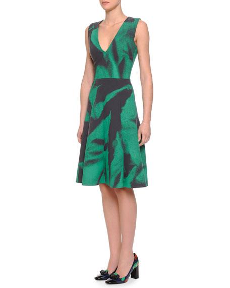 Bottega Veneta V-Neck Abstract-Print Fit-And-Flare Dress