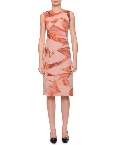Bottega Veneta Arizona Printed Pintucked Dress