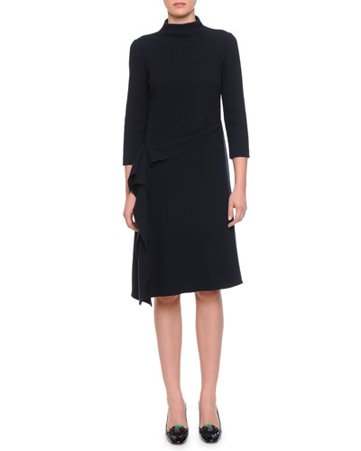 Funnel-Neck Asymmetric Draped Dress