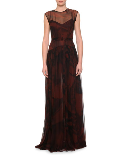 Abstract-Print Chiffon Illusion Gown