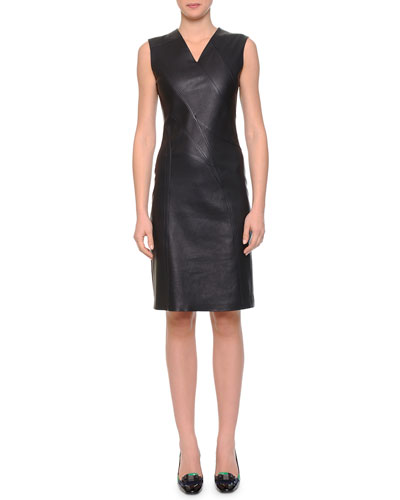 Asymmetric Seamed Leather Sheath Dress, Dark Navy