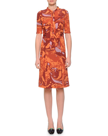 Bottega Veneta Shirred-Waist Tie-Neck Shirtdress, Arizona Orange