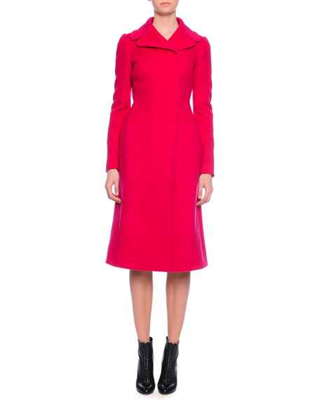 Dolce & Gabbana Knee-Length Fitted Coat, Fuchsia