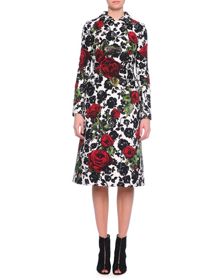 Dolce & Gabbana Double-Breasted Floral-Print Coat, Red/White/Black