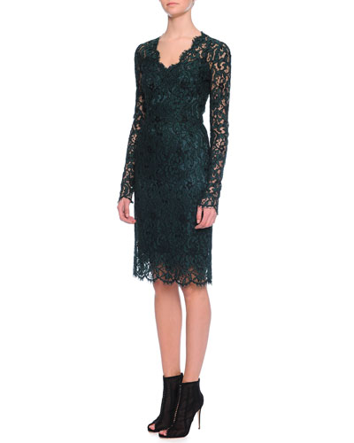 Corded Lace Knee-Length Dress, Deep Green