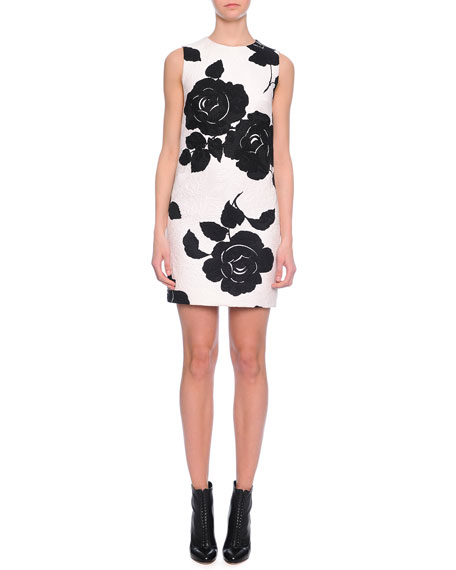 Dolce & Gabbana Floral-Print Shift Dress, Black/White