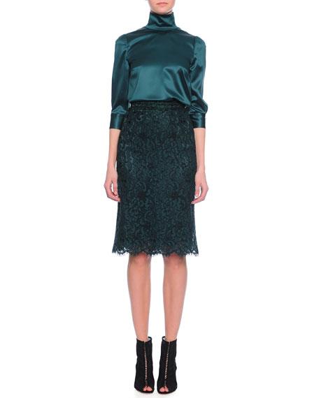 Dolce & Gabbana3/4-Sleeve Satin Blouse, Emerald