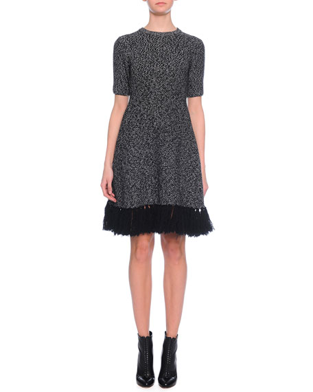 Dolce & Gabbana Jewel-Neck Cashmere Dress w/Fringe Hem