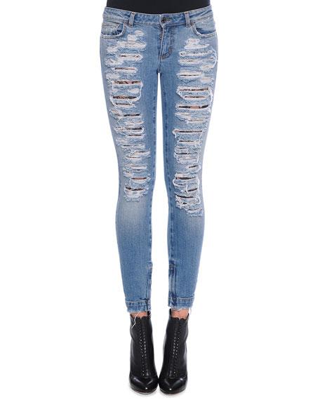 Dolce & GabbanaDistressed Denim Jeans, Light Denim