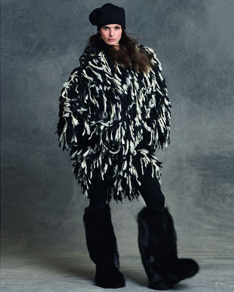 Fringe Shaggy Wool-Blend Coat, Black/White
